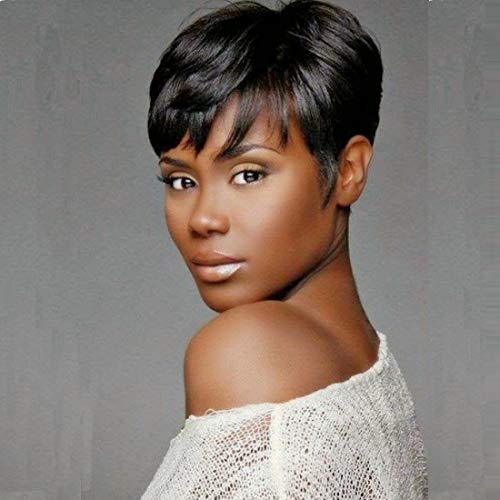 RUISENNA Human Hair Short Wigs Pixie Cut Wigs for Black Women Short Black Glueless Wigs for African American