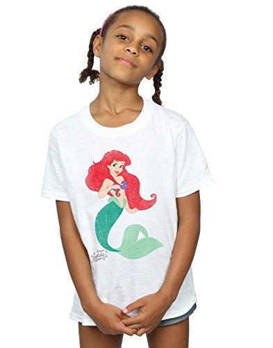 Disney niñas Princesses Classic Ariel Camiseta 7-8 Years Blanco