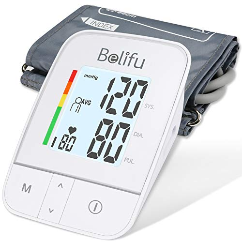 Belifu Blood Pressure Monitor Upper Arm, Digital Automatic Bp Machine & Pulse Rate Monitoring Meter with Cuff 22-44cm, 2x120 Memory, Large LCD - Device Bag & Batteries Included