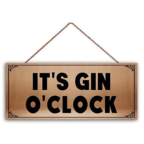 "Ced454sy Holzschild mit Aufschrift ""It's Gin O\'Clock"", ideal als Geschenk"