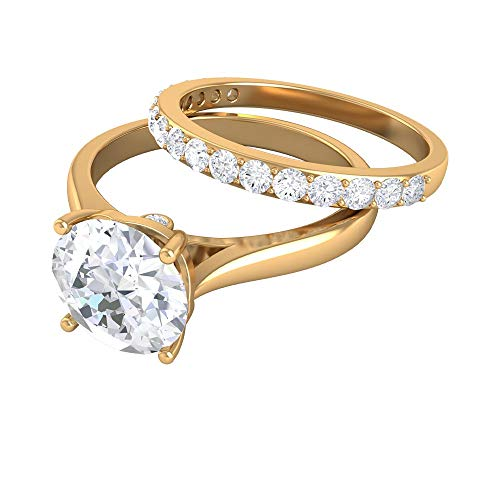 Rosec Jewels 10 quilates oro amarillo Round Brilliant Moissanite