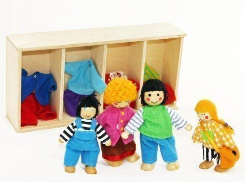 Freda Puppenfamilie Holzbiegepuppen mit Wechselkleider 4 Puppen