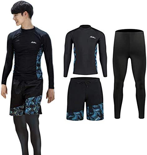 ZHPUAT ラッシュガード メンズ 水着 長袖 前開き レギンス サーフパンツ フィットネス 男性 UVカット温泉 ビーチ 水泳 スイミング 吸汗 速乾 3点セット03 L