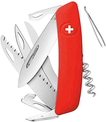SWIZA D09 Rouge Couteau Suisse Adulte Unisexe, 75mm