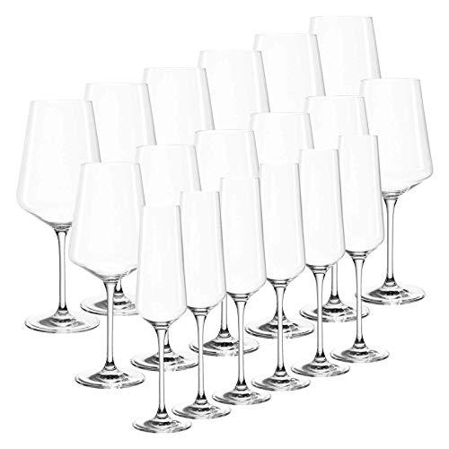 Leonardo Puccini Gläserset, 18-er Set, Teqton-Kristallglas, je 6 Gläser für Sekt, Rotwein, Weißwein, 069539