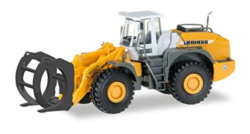 herpa 306843 – Radlader L580, Loghandler mit Greifer, Liebherr Baustellen Fahrzeug, Modell Bagger, Truck, Miniaturmodelle, Sammlerstück, Kunststoff-Maßstab 1:87