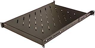 NavePoint 1U 19インチ 固定 4柱 ラックマウント サーバーシェルフ 奥行調整可能 18-34インチ ブラック