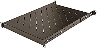 NavePoint 1U 19-Inch Fixed 4-Post Rack Mount Server Shelf with Adjustable Depth from 18-34 Inch Black