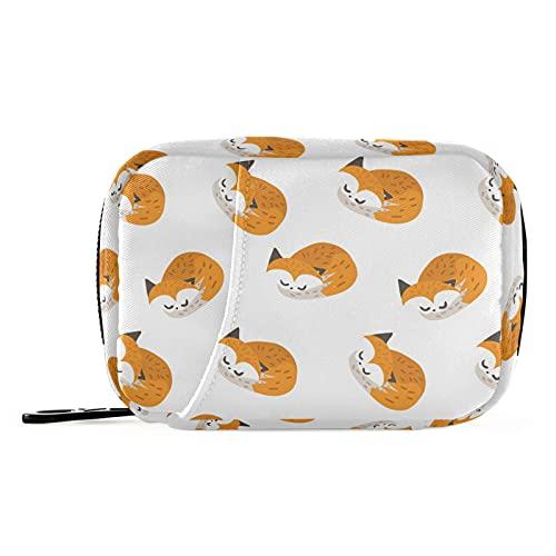 Naanle Sleeping Cute Fox - Pastillero para 7 días, bolsa organizadora de píldoras de viaje, con cremallera, portátil, tamaño compacto para soporte de suplemento de vitamina