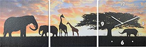 Wanduhr Afrika Elefanten und Giraffen 3 teilig Uhr TOP