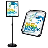 HUAZI Floor Standing Sign Holder Pedestal Sign Stand for 11 x 17 inches Graphics, Rounded Corner Frame & Pole Height Adjustable - Color Black