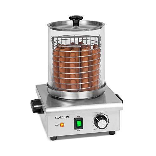 Klarstein Pro Wurstfabrik 450 Profi Hot Dog Maker, 450 Watt, 30-100 °C, Glaszylinder: Ø 20 cm, unterteilbarer Edelstahlkäfig: Ø 17 cm / 5 Liter, Edelstahl, Wassertank: 1,1 Liter, silber