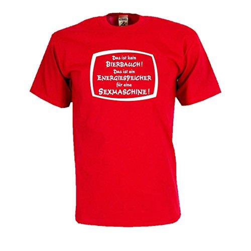 Das ist kein Bierbauch das ist EIN Energiespeicher für eine Sexmaschine, T-Shirt mit lustigem Spruch Spaß Geschenk oder Party Gag Funshirt (FSB026) 5XL
