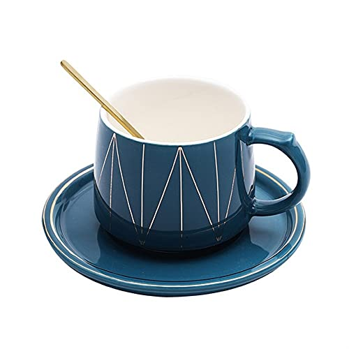 XDYNJYNL Taza de café y platillo de cerámica, 7.77oz / 230ml Vintage Pintado a Mano Tazas de café Espresso Latte Tazas con asa Desayuno piña Taza de té Beber tumblers Capuchino Tazas