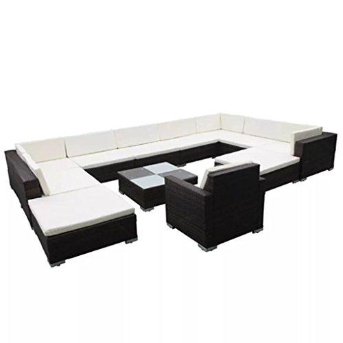 Nishore 12-TLG. Juego de muebles de jardín con cojines de ratán, mesa de comedor, juego de muebles de jardín, sofá, esquina, para exterior, grosor de acolchado de 6 cm