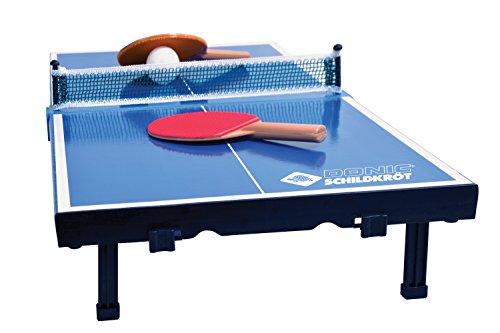 Donic-Schildkröt Tischtennis-Mini-Tisch, Mini-Tischtennistischplatte, komplettes Set mit 2 Schlägern und 1 Ball, Platte zusammenklappbar, Blau, Abmessungen Platte: 68 x 33 x 9 cm, 838576