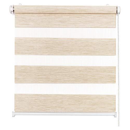Doppelrollo Natural, Beige, 70x150cm - Duo-Rollo Klemm Fix mit Klemmträger, Fenster-Rollo/Seitenzug-Rollo ohne Bohren, lichtdurchlässig und verdunkelnd