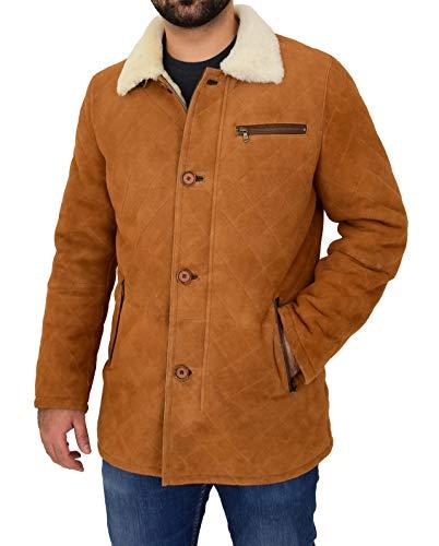 Mens Real Sheepskin Jacket Cognac Designer White Shearling 3/4 Long Quilted Car Coat Hank (Large)