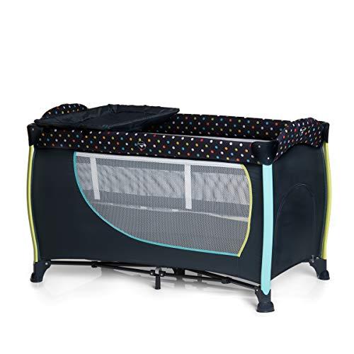 Hauck Sleep N Play Center II - Cuna de viaje 7 piezas de 0 meses a 15 kg, altura recién nacido, apertura lateral, cambiador, ruedas, colchon, bolsa de transporte, bolsillo, ajustable y plegable, azul