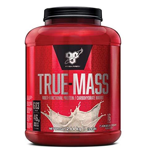 BSN True Mass Weight Gainer Eiweißmischung Pulver (enthält Whey, Casein, Glutamin und Kohlenhydrate, Protein Shake von BSN) cookies und cream, 16 Portionen, 2,64kg
