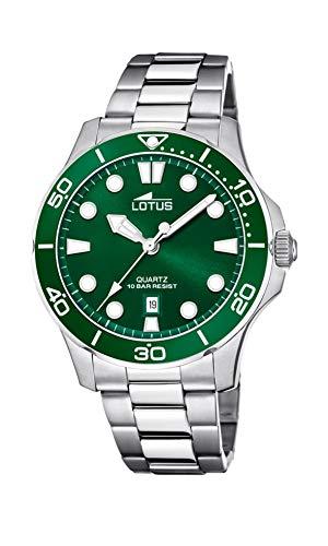 LOTUS Reloj Modelo 18759/2 de la colección Excellent, Caja de 44,5 mm Verde con Correa de Acero para Caballero
