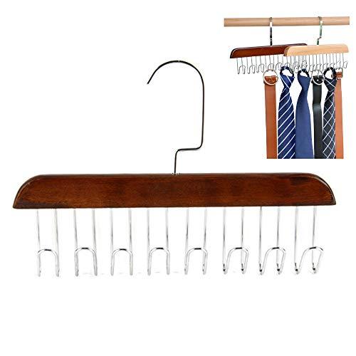 Percha de Madera para Cinturón Percha Cinturones Moderna Organizador Cinturones con 8 Ganchos para Cinturones Corbatas Colgador de Bolsas Gancho Giratorio 360 ° Madera de Loto 19x28 cm
