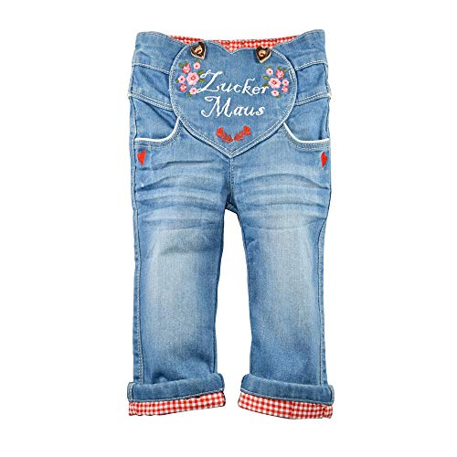BONDI Jeans ´Zuckermaus´, Blue Denim 116 Tracht Baby Mädchen Artikel-Nr.86197