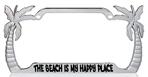 The Beach is my Happy Place Palm Tree Design Chrome Metal Auto License Plate Frame Car Tag Holder with car banner flag