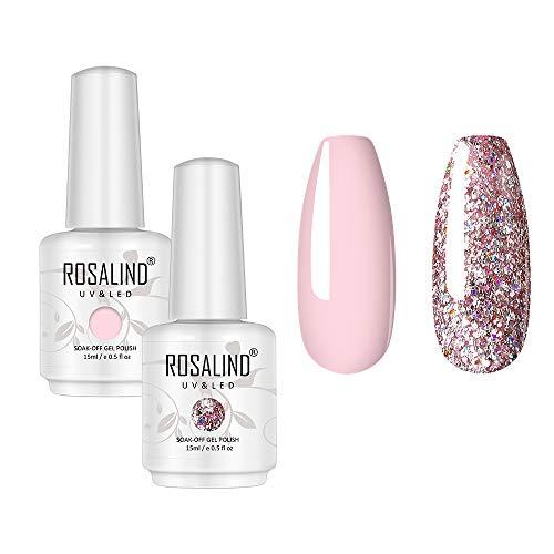 Gel Nagellack Kollektion Pink und Glitter-ROSALIND Color Gel Semipermanent Gelpoliermittel in 2 Farben 15ml einweichen