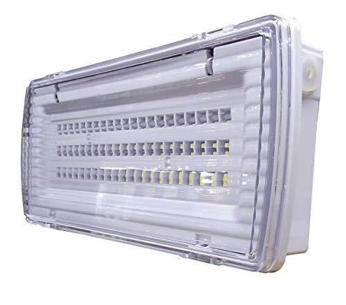 Luz de Emergencia LED estanca 8w. IP65, superficie, 450 lumenes, 2 Horas de Autonomía Color Blanco Frío (6500K). Impermeable, resistente al agua.
