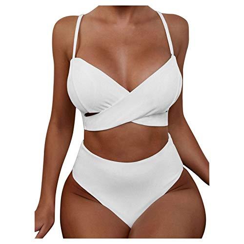 Traje de Baño de Color Sólido para Mujer de Dos Piezas Bikinis con Acolchado Retirable Ropa de Baño con Correas Ajustables Bañadores de Playa Retro Swimsuit Ideal para Natación,Surf,Buceo