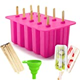 Popsicle Molds Silicone 10 Pieces Ice Pop Maker, Reusable DIY Homemade Ice Pop Molds, Easy Release Kids Popsicle Ice Cream Bar Mold with Free Silicone Funnel