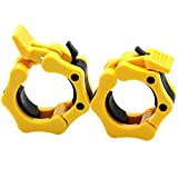 Greententljs Olympic Barbell Clamps Quick Release Pair of Locking 2' Olympic Bar Barbell Clip Lock Collars Spinlock Workout Pro Collar Clips for Squat Weightlifting Fitness Training (Pair of Yellow)