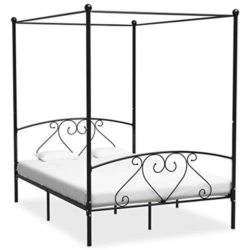 UnfadeMemory Estructura de Cama de Metal con Somier y Dosel,Elegante y Clásico (160x200cm, Negro)