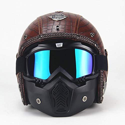 ANAN leren motorhelm, chopper, fietshelm, open gezicht, vintage, motorhelm met goggles-masker, bruin