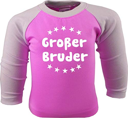 KLEINER FRATZ Baby/Kinder Baseball Langarm T-Shirt (Farbe: pink-Weiss) (Gr. 98/104) Großer Bruder