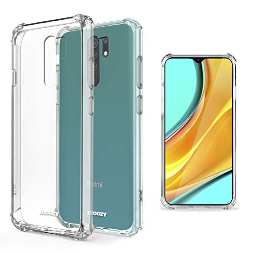 Moozy Funda Silicona Antigolpes para Xiaomi Redmi 9 - Transparente Crystal Clear TPU Case Cover Flexible