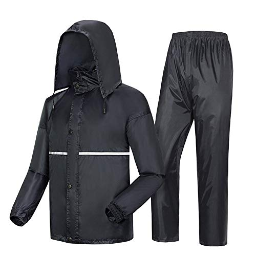 LANGYINH Waterdicht Regenpak Hooded Regenjas, Polyester Dik Regenkleding, Regenjas + Regenbroek Set voor Outdoor Sport