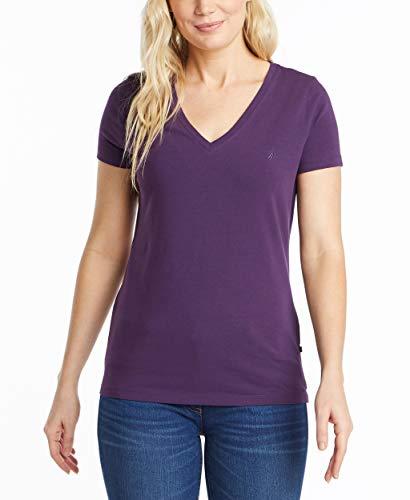 Nautica Women's Easy Comfort V-Neck Supersoft Stretch Cotton T-Shirt, Black Berry, Medium