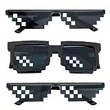 Pixel Sonnenbrille, Comius Sharp [3 Pack] Mosaik-Gläser, Thug Life Brille, Deal mit ihm Brille, Pixelbrille, Neuheit Sonnenbrille, Gusspower Thug life Brille, Mosaik Sonnenbrille für Frauen und Männer
