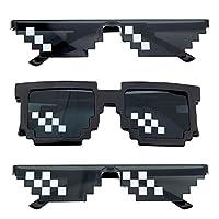 。◕‿◕。[Material] PC, Zustand: 100% neu; Sonnenbrille UV 400 Schutz 。◕‿◕。[3 Style] Ein tolles Geschenk für den Spieler, Meme-Enthusiasten oder Troll in deinem Leben 。◕‿◕。[Lightweight] Anti-Rutsch-Gummi-Nasenstücke, ist angenehm für längeres Tragen. Tra...