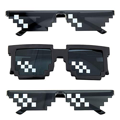 Gafas Thug Life, Comius Sharp 3 Pack Mosaico Gafas de Sol Para Hombre y Mujer, Diseño de Mosaico