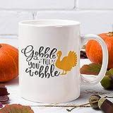Tamengi Taza de café Gobble till ya, taza de café de la casa de granja, taza de té de especias de calabaza, cocina de granja de acción de gracias, pastel de calabaza café christan
