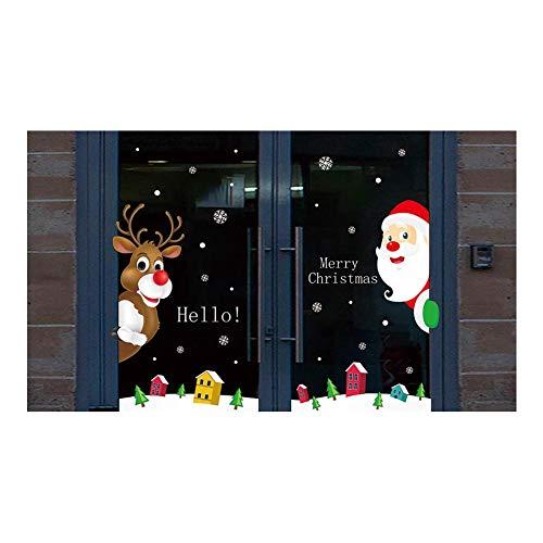 luminiu Pegatinas de Navidad,Ventanas de Navidad Pegatinas Papá Noel de Vinilo Ventana Pegatinas de Pared Decorativos Stickers Navideños Decorativos Ventana Escaparates Cristales