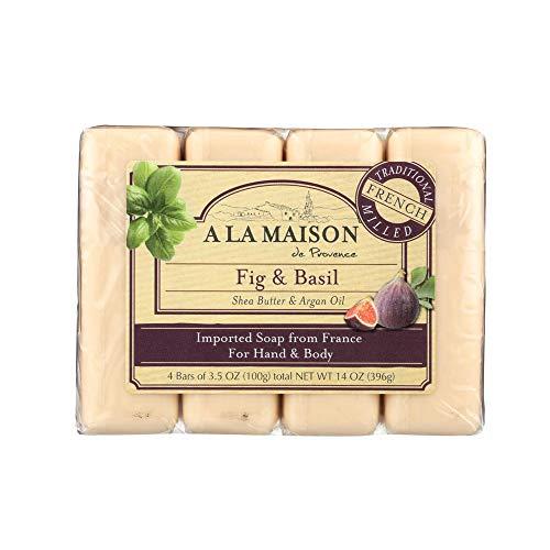 Hand Body Bar Soap, Fig Basilic, 4 bars, 3,5 oz Chaque - A La Maison de Provence