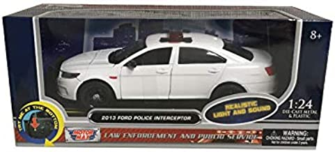 2013 Ford Police Interceptor with Flashing Lights and Two Sounds Plain White 1/24 Diecast Model Car by Motormax 79538
