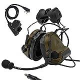 TAC-SKY C2ヘルメットバージョンタクティカルヘッドセット、レールアダプターとU94 kenwood PTT附属 (アーミーグリーン)