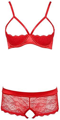 Orion BH und Panty Set - erotische Reizwäsche mit BH und offenem Unterwäsche für Frauen, Lingerie-Set aus Spitze und Satin, rot (75B/S)
