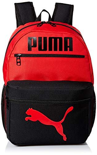 PUMA Kids' Big Evercat Meridian Backpack, black/Red, Youth Size