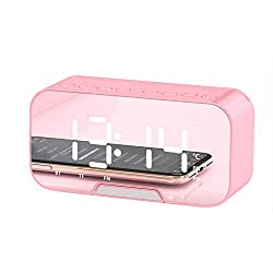 Digital Alarm Clock,Bluetooth Speaker FM Radio LED Mirror Voice Broadcast Snooze Desktop Alarm Clock for Bedrooms, Kids, Living Room, Kitchen - Pink